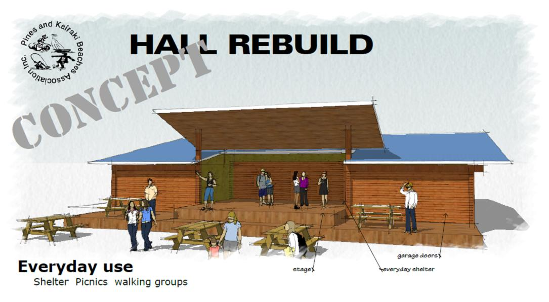 Pines Beach Kairaki hall rebuild concept drawing